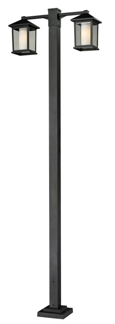 Z-Lite Mesa Collection 2 Head Outdoor Post in Black Finish, 523-2-536P-BK