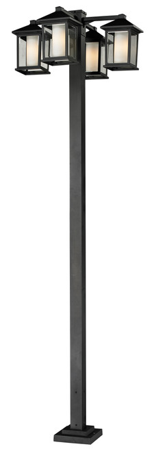 Z-Lite Mesa Collection 4 Head Outdoor Post in Black Finish, 523-4-536P-BK