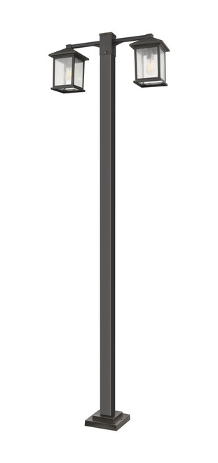 Z-Lite Portland Collection 2 Light Outdoor Post Mounted Fixture in Oil Rubbed Bronze Finish, 531-2-536P-ORB