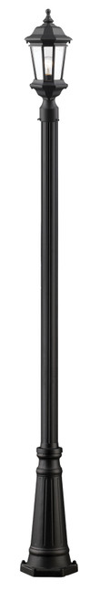 Z-Lite Melbourne Collection 1 Light Outdoor Post Light in Black Finish, 540PHM-519P-BK