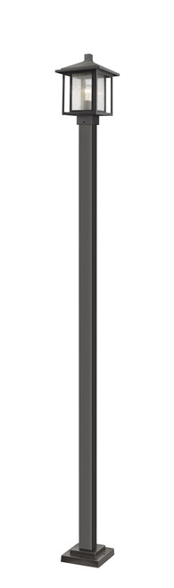 Z-Lite Aspen Collection 1 Light Outdoor Post Mounted Fixture in Oil Rubbed Bronze Finish, 554PHMS-536P-ORB