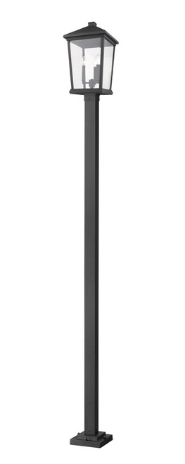 Z-Lite Beacon Collection 3 Light Outdoor Post Mounted Fixture in Black Finish, 568PHXLS-536P-BK