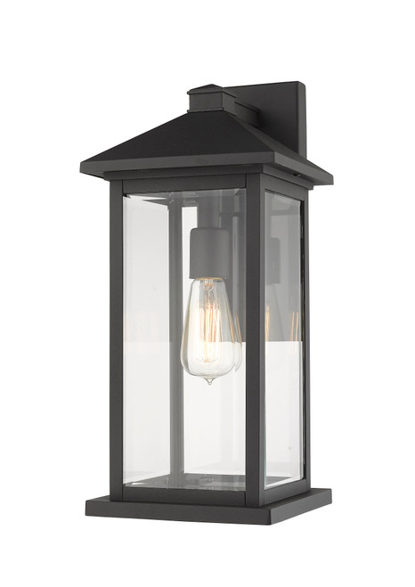 Z-Lite Portland Collection 1 Light Outdoor Wall Sconce in Black Finish, 531MXL-BK