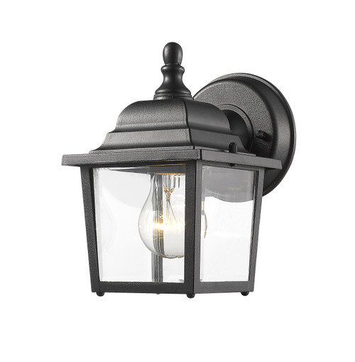 Z-Lite Waterdown Collection 1 Light Outdoor Wall Light in Black Finish
