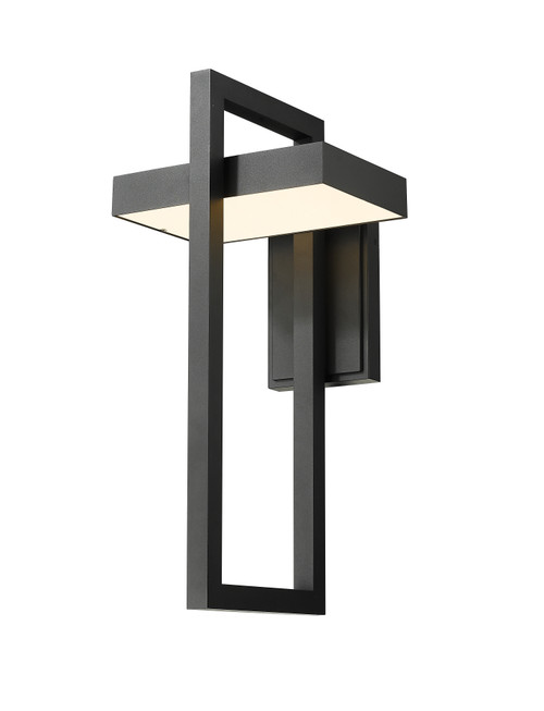 Z-Lite Luttrel Collection 1 Light Outdoor Wall Sconce in Black Finish, 566XL-BK-LED