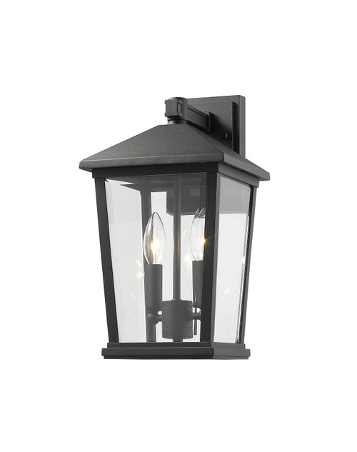 Z-Lite Beacon Collection 2 Light Outdoor Wall Sconce in Black Finish, 568M-BK