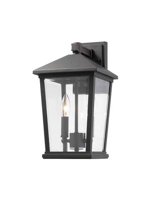 Z-Lite Beacon Collection 2 Light Outdoor Wall Sconce in Oil Rubbed Bronze Finish, 568M-ORB