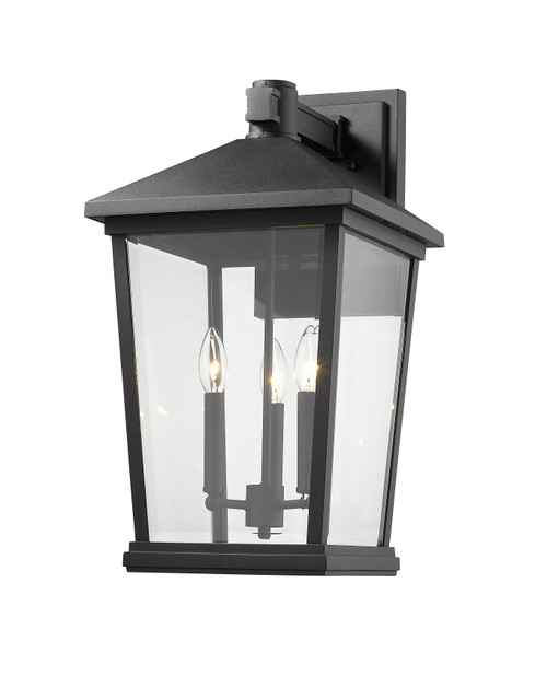 Z-Lite Beacon Collection 3 Light Outdoor Wall Sconce in Black Finish, 568XL-BK