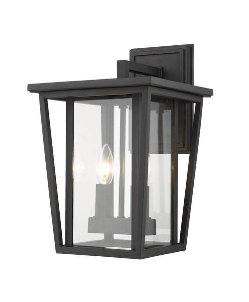 Z-Lite Seoul Collection 2 Light Outdoor Wall Sconce in Black Finish, 571M-BK