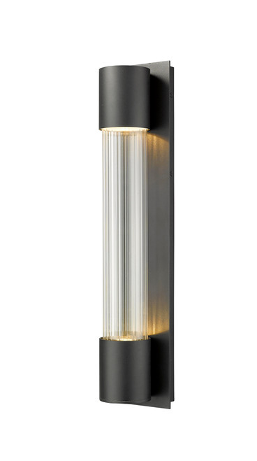 Z-Lite Striate Collection 2 Light Outdoor Wall Sconce in Black Finish, 575B-BK-LED