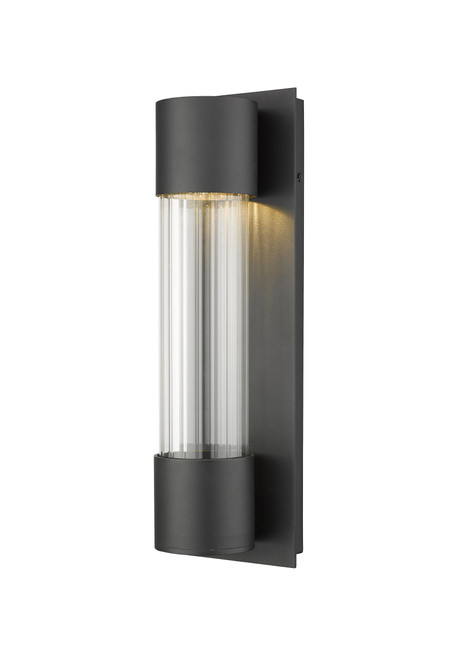 Z-Lite Striate Collection 1 Light Outdoor Wall Sconce in Black Finish, 575S-BK-LED