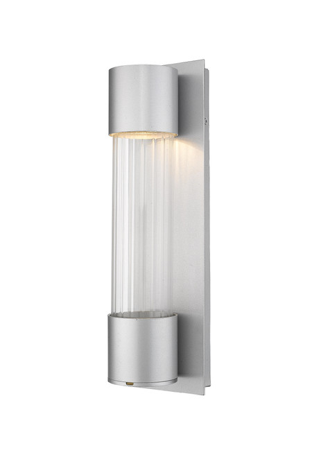 Z-Lite Striate Collection 1 Light Outdoor Wall Sconce in Silver Finish, 575S-SL-LED