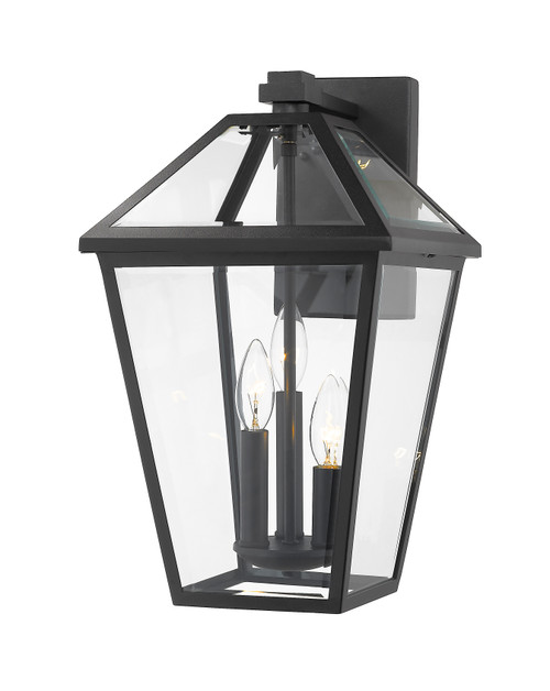 Z-Lite Talbot Collection 3 Light Outdoor Wall Sconce in Black Finish, 579XL-BK