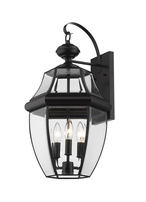 Z-Lite Westover Collection 3 Light Outdoor Wall Sconce in Black Finish, 580B-BK