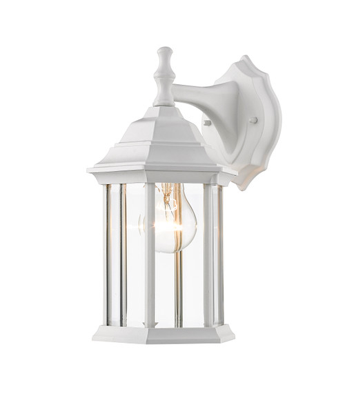 Z-Lite Waterdown Collection 1 Light Outdoor Wall Light in Gloss White Finish, T21WH