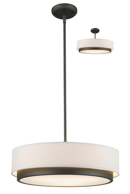Z-Lite Jade Collection 3 Light Convertible Pendant in Factory Bronze Finish, 196-22