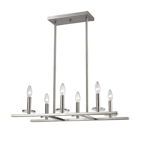 Z-Lite Verona Collection 6 Light Pendant in Brushed Nickel Finish, 2010-6L-BN