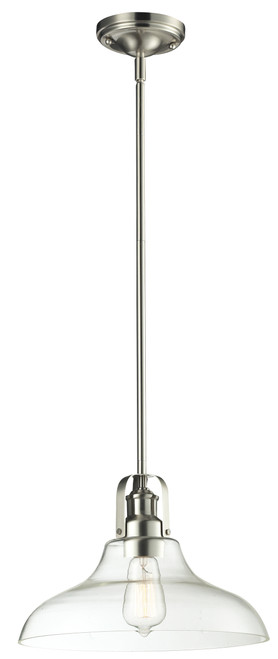 Z-Lite Forge Collection 1 Light Pendant in Brushed Nickel Finish, 320-13MP-BN