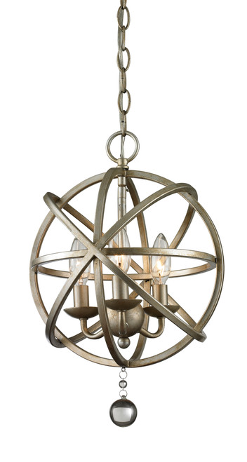 Z-Lite Acadia Collection 3 Light Pendant in Antique Silver Finish, 415-12