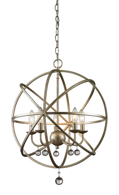 Z-Lite Acadia Collection 5 Light Pendant in Antique Silver Finish, 415-20