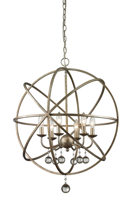 Z-Lite Acadia Collection 6 Light Pendant in Antique Silver Finish, 415-24
