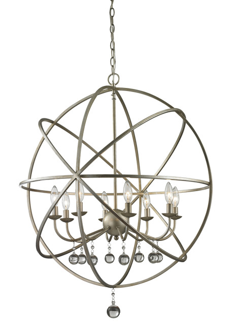 Z-Lite Acadia Collection 8 Light Pendant in Antique Silver Finish, 415-30