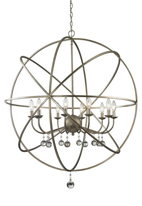Z-Lite Acadia Collection 10 Light Pendant in Antique Silver Finish, 415-36