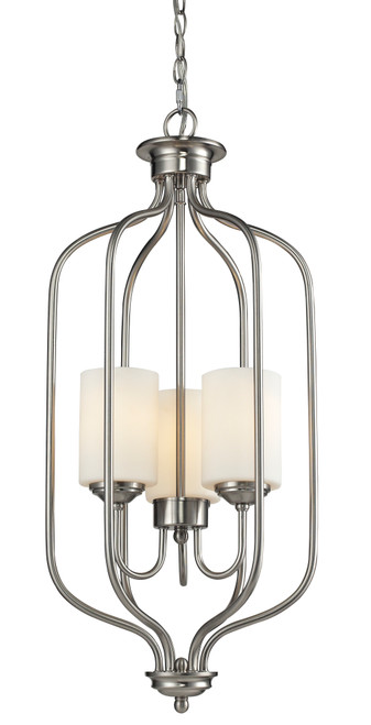 Z-Lite Cardinal Collection 3 Light Pendant in Brushed Nickel Finish, 434-31-BN