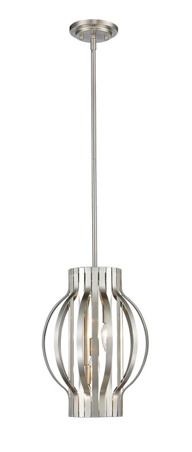 Z-Lite Moundou Collection 3 Light Pendant in Brushed Nickel Finish, 436-12BN