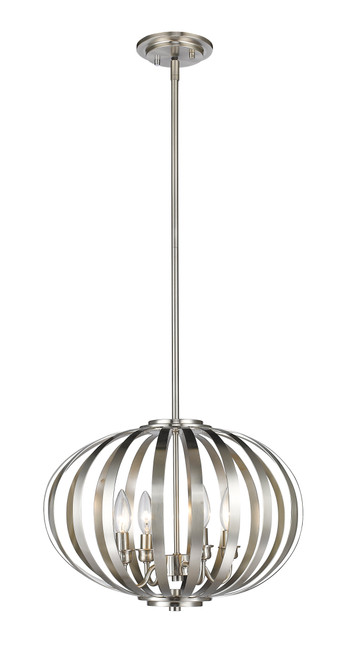Z-Lite Moundou Collection 4 Light Pendant in Brushed Nickel Finish, 438-16BN