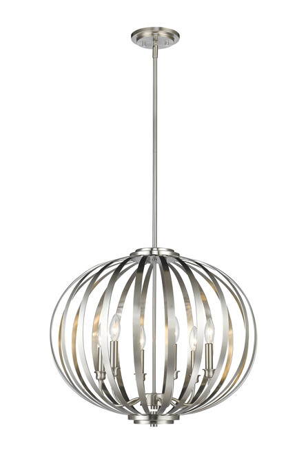 Z-Lite Moundou Collection 6 Light Pendant in Brushed Nickel Finish, 438-24BN