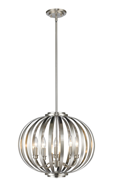 Z-Lite Moundou Collection 5 Light Pendant in Brushed Nickel Finish, 438-20BN