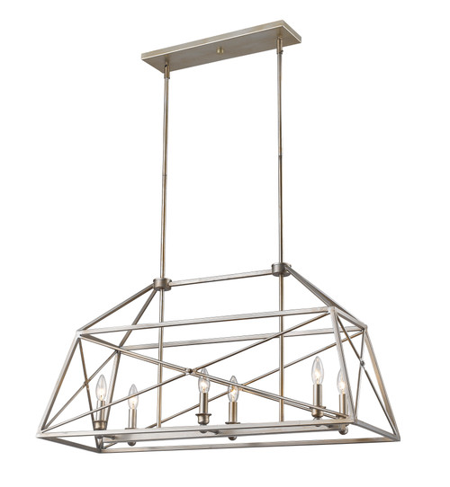 Z-Lite Trestle Collection 6 Light Pendant in Antique Silver Finish, 447-36AS