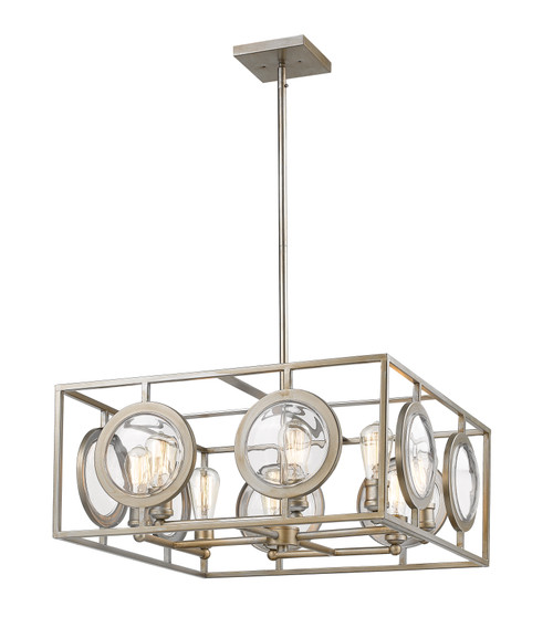 Z-Lite Port Collection 8 Light Pendant in Antique Silver Finish, 448-24AS