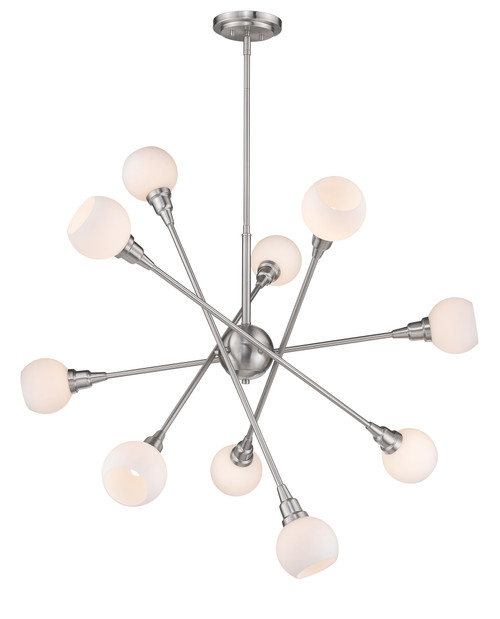 Z-Lite Tian Collection 10 Light Pendant in Brushed Nickel Finish, 616-10C-BN-LED