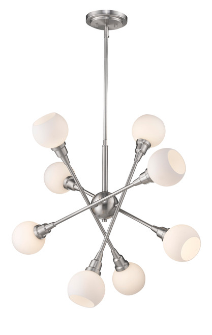 Z-Lite Tian Collection 8 Light Pendant in Brushed Nickel Finish, 616-8C-BN-LED