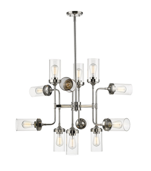 Z-Lite Calliope Collection 12 Light Pendant in Polished Nickel Finish, 617-12PN