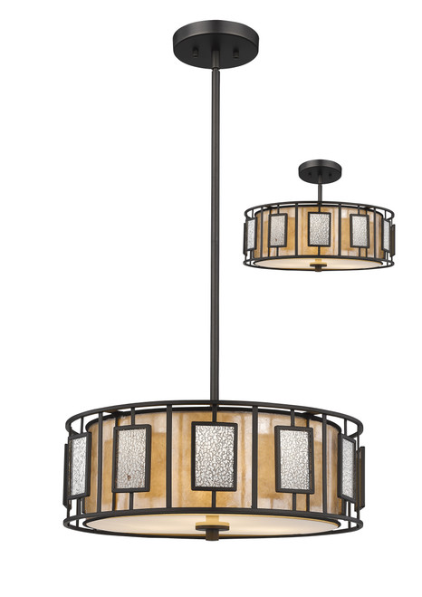 Z-Lite Lankin Collection 3 Light Pendant in Bronze Finish