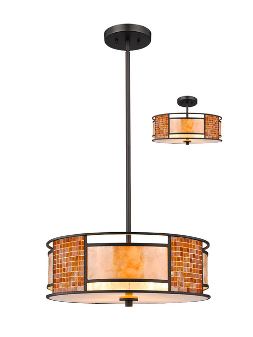 Z-Lite Parkwood Collection 3 Light Pendant in Bronze Finish