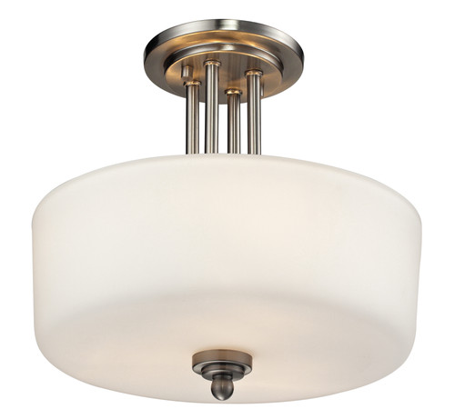 Z-Lite Cardinal Collection 3 Light Semi Flush Mount in Brushed Nickel Finish, 434-SF-BN