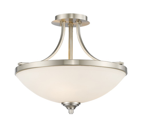 Z-Lite Bordeaux Collection 3 Light Semi Flush Mount in Brushed Nickel Finish, 435SF-BN