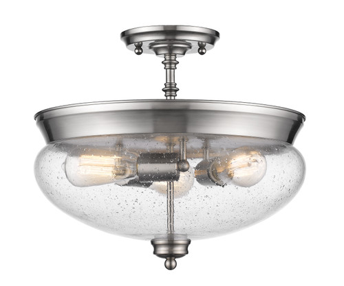 Z-Lite Amon Collection 3 Light Semi Flush Mount in Brushed Nickel Finish, 722SF-BN