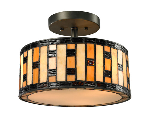 Z-Lite Raya Collection 3 Light Semi Flush Mount in Java Bronze Finish