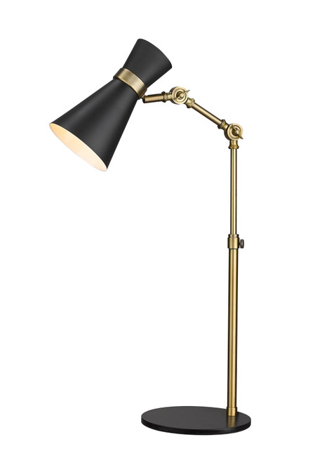 Z-Lite Soriano Collection 1 Light Table Lamp in Matte Black + Heritage Brass Finish, 728TL-MB-HBR