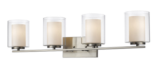 Z-Lite Willow Collection 4 Light Vanity in Brushed Nickel Finish, 426-4V-BN