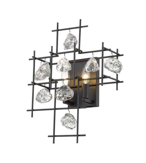 Z-Lite Garroway Collection 2 Light Wall Sconce in Matte Black Finish, 4007S-MB