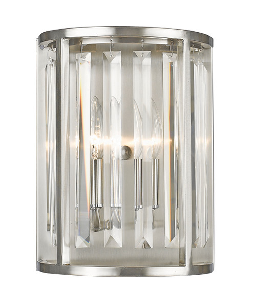 Z-Lite Monarch Collection 2 Light Wall Sconce in Brushed Nickel Finish, 439-2S-BN