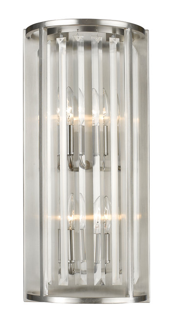 Z-Lite Monarch Collection 4 Light Wall Sconce in Brushed Nickel Finish, 439-4S-BN