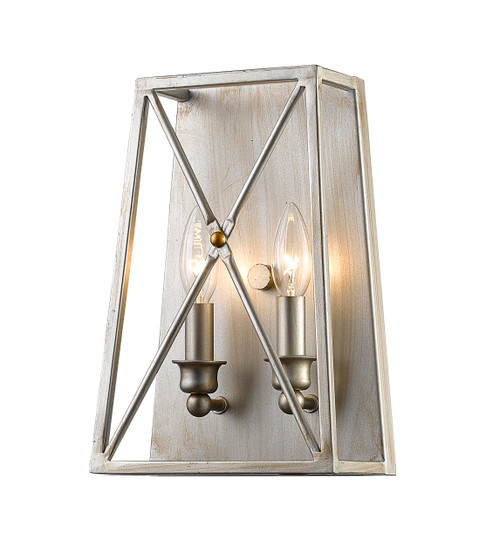 Z-Lite Trestle Collection 2 Light Wall Sconce in Antique Silver Finish, 447-2S-AS
