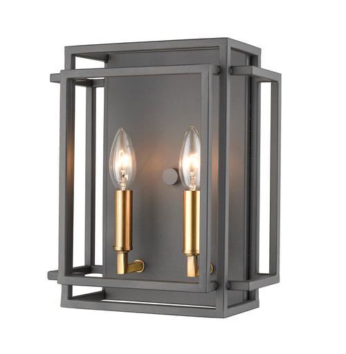 Z-Lite Titania Collection 2 Light Wall Sconce in Bronze + Olde Brass Finish, 454-2S-BRZ-OBR